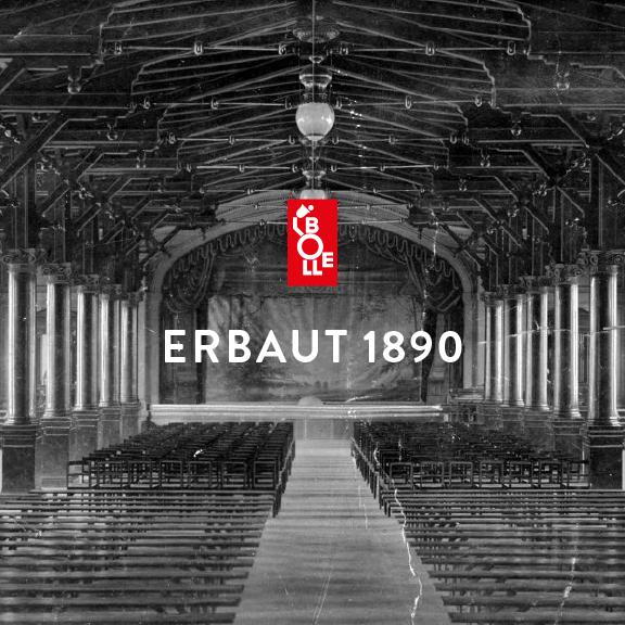 """Schwarz-Weiß-Foto BOLLE Halle als Theater - mit Logo und Schirftzug """"ERBAUT 1890"""""""