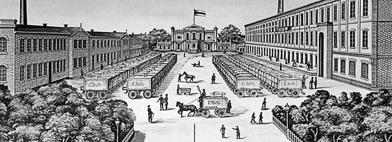 Titelbild BOLLE Historie - Zeichnung: Bolle-Hof mit Pferdekutschen