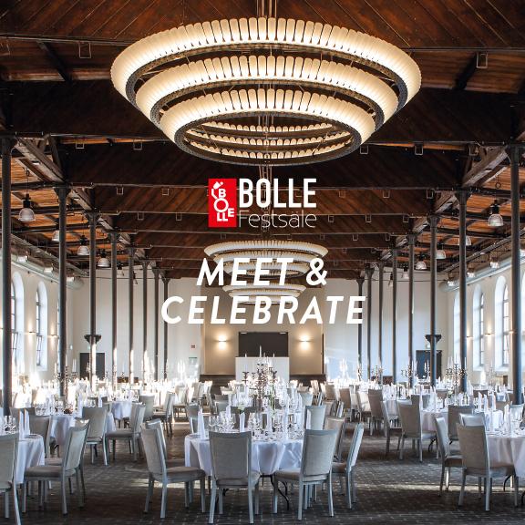 """Foto BOLLE Festsäle mit Logo und Aufschrift """"MEET & CELEBRATE"""""""